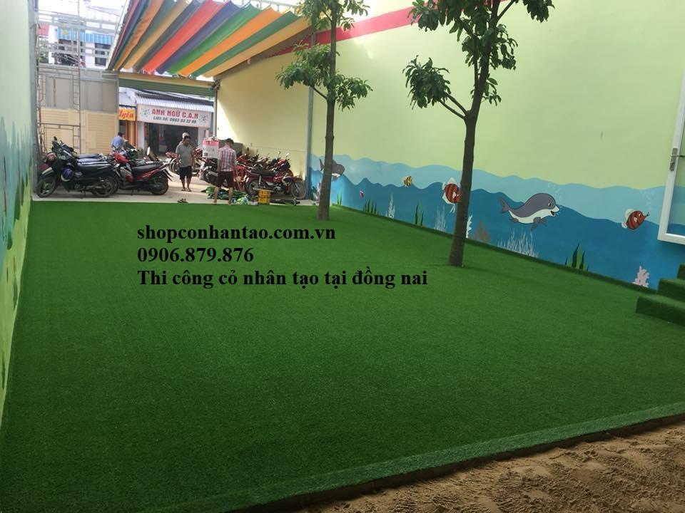 Thi công cỏ nhân tạo tại Biên Hòa Đồng Nai, Thảm cỏ nhựa trang trí giá rẻ nhất
