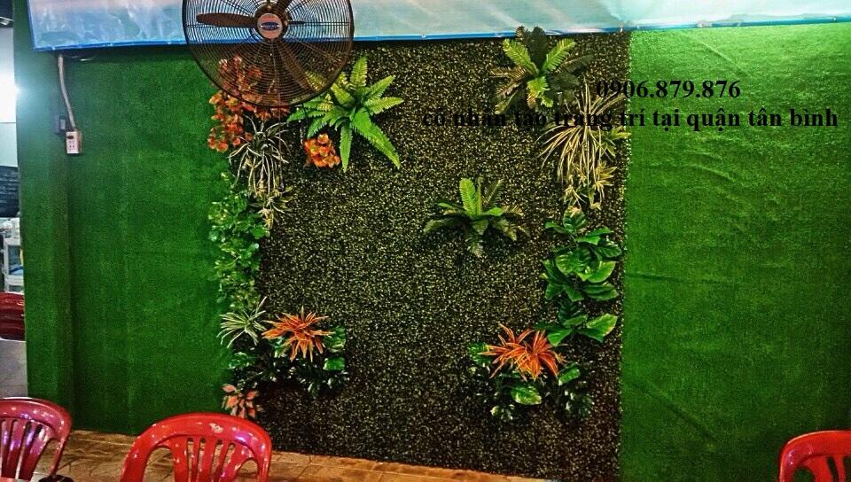 Thi công cỏ nhân tạo dán tường tại tân bình, cỏ nhân tạo dán tường tân bình